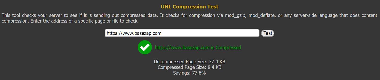 gzip compression result