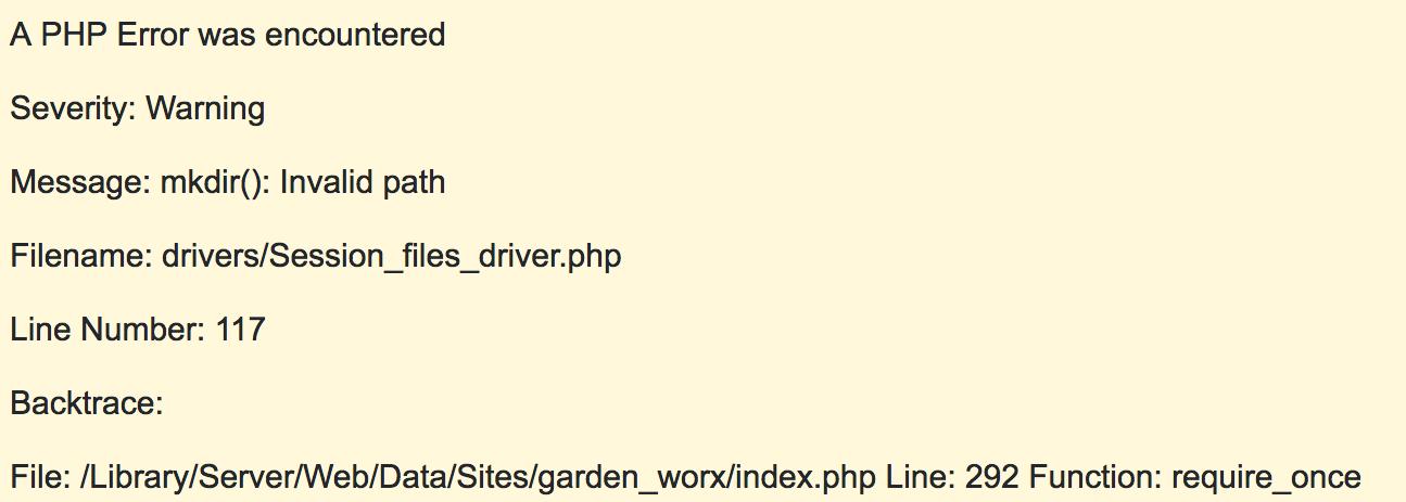 invalid sess_save_path codeigniter